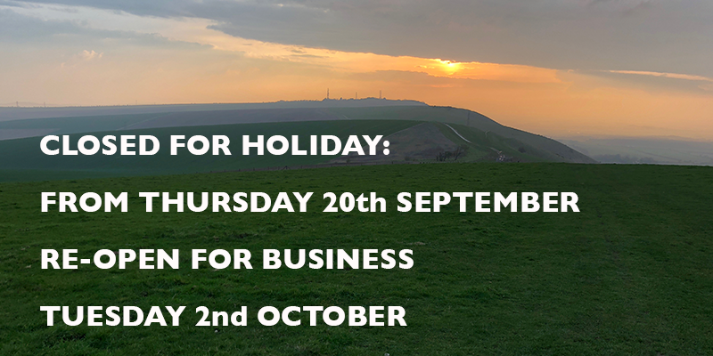 Closed for holiday from Thursday 20th September. |Re-open for business Tuesday 2nd October